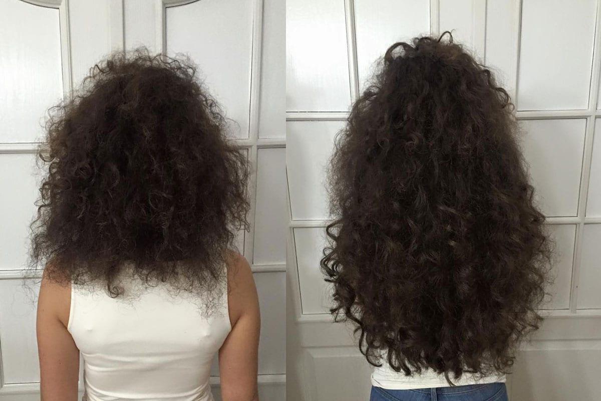 Przedłużenie przy użyciu 120 szt pasm, włosy słowiańskie, długość 55 cm
