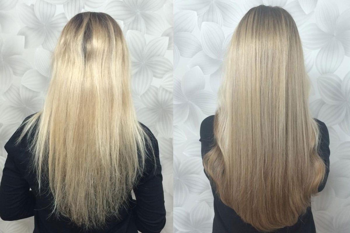Przedłużenie przy użyciu 175 szt pasm, włosy 7-gwiazdkowe Hairdreams, długość 45 cm
