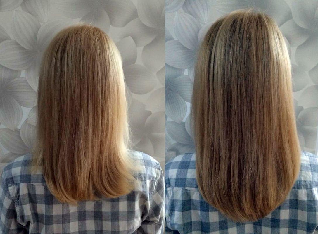 Przedłużenie przy użyciu 75 szt pasm, włosy 7-gwiazdkowe Hairdreams, długość 25 cm, efekt po