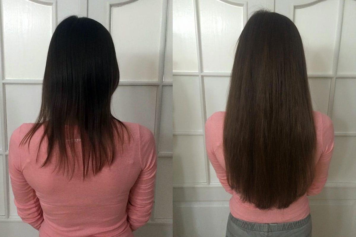 Przedłużenie przy użyciu 175 szt pasm, włosy 7-gwiazdkowe Hairdreams, długość 45 cm, efekt po