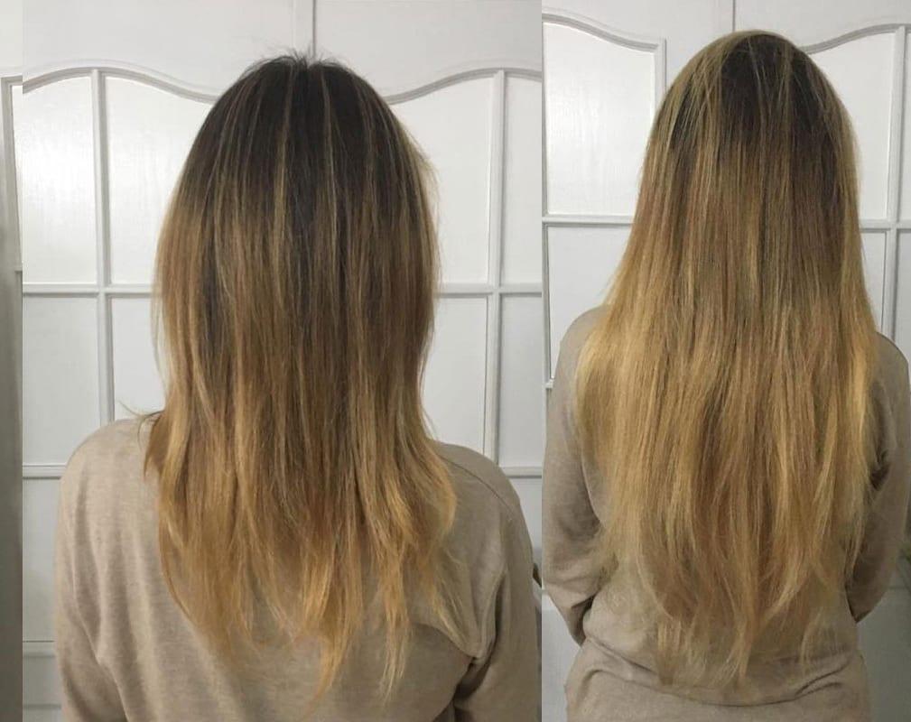 Przedłużenie przy użyciu 150 szt pasm, włosy 7-gwiazdkowe Hairdreams, długość 55 cm, efekt po