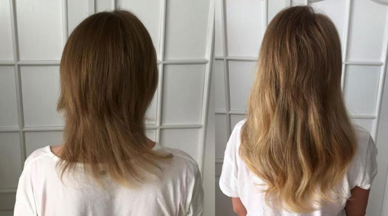 Włosy długie, ciemny blond